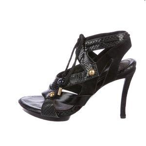 Louis Vuitton Snakeskin Embellished Sandals
